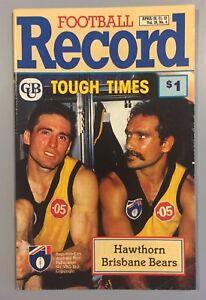 HAWTHORN-V-BRISBANE-ROUND-4-1990-APRIL-21-AFL-RECORD-HAWKS-V-BEARS-RARE-COPY