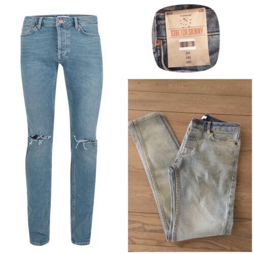 Topman ripped skinny  jeans Size 28 30 32 Men's Blue Vintage Faded Denim   M139