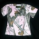New, Mossy Oak Pink Camo Scrub Top medical vet hospital scrubs licensed Breakup