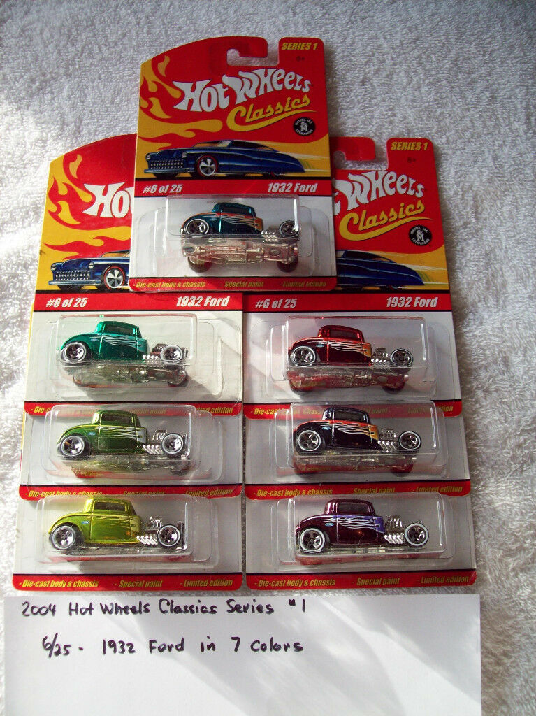2004 Hot Wheel Classics Series 1 6 25 1932 Ford 7 Car Set in 7 colors