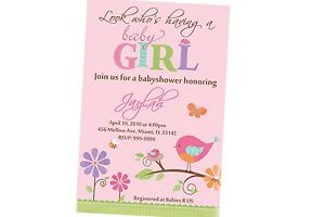 Tweet Girl Baby Shower Invitation 24hr Service Uprint 4x6 Or 5x7 Ebay