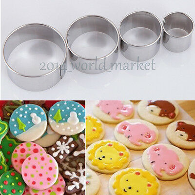 Hot 4Pcs Stainless Steel Round Circle Cookie Fondant Cake Paste Cutters Mold #T