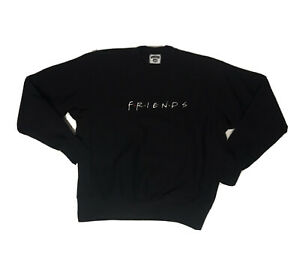 Vtg-1990s-Friends-Tv-Show-Promo-Crewneck-Sweatshirt-Mens-Xl-Spelloutblack-Shirt