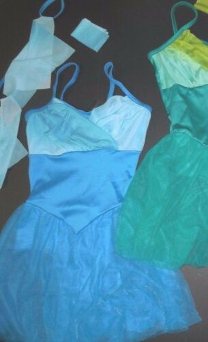 NEW Dance costume Lyrical Ballet tiedye 3 colors ch//ladies Flyers incld Meshskrt