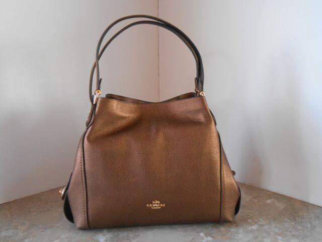 93f8b54e9d New COACH 87399 EDIE 31 Metallic Pebble Leather Shoulder Bag $350 LI/BRONZE