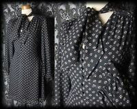 Gothic Black Tiny Button 40's MOROSE Pussy Bow Tea Dress 8 10 Victorian Vintage