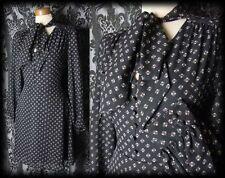 Gothic Black Tiny Button 40's MOROSE Pussy Bow Tea Dress 14 16 Victorian Vintage