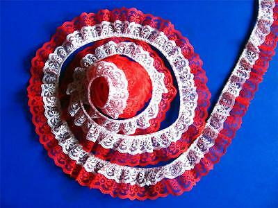 Bulk Lace 50 Yards White on Red DOUBLE Ruffle Candlewick Lace Trim