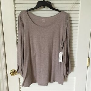 NWT-a-n-a-Women-s-Long-Sleeve-Heather-Gray-w-Stripes-Tunic-Top-Size-XXL