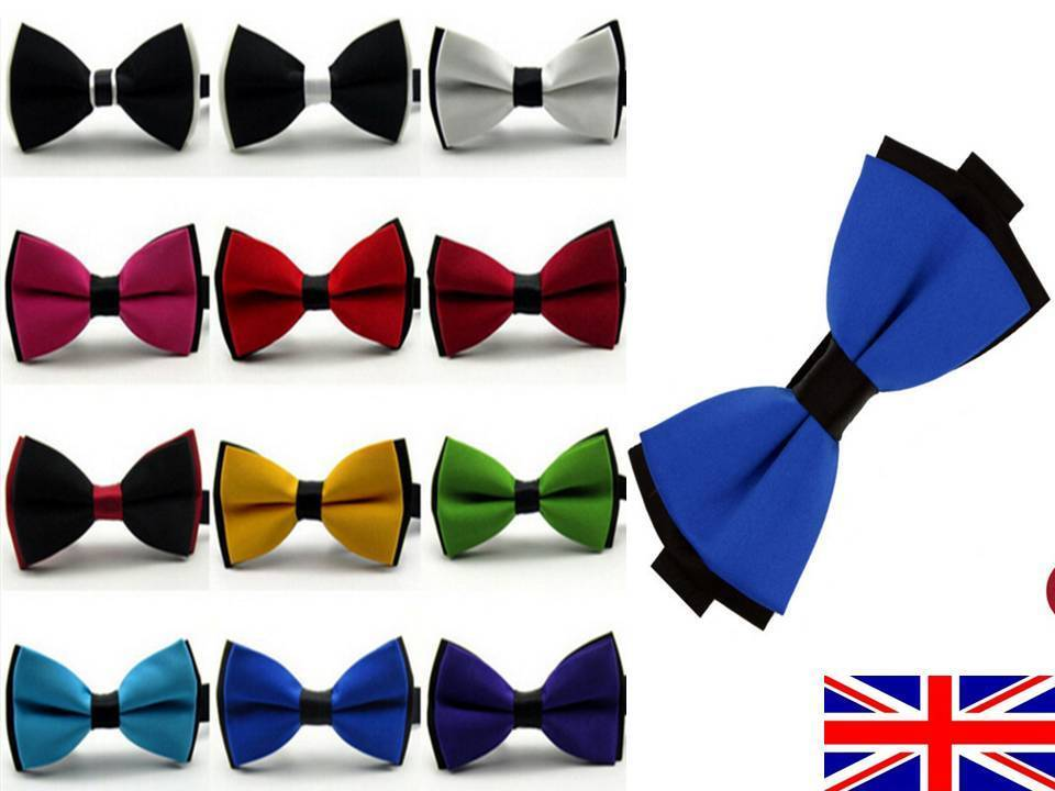 UK Bow Tie Men's Polyester Wedding Party Prom Pre-Tied Adjustable High Quality