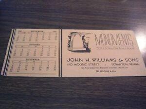1942 JOHN H. WILLIAMS & SONS - MOOSIC STREET - SCRANTON PA - ADVERTISING BLOTTER