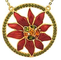Miriam Haskell Circle Poinsettia Necklace Holiday Collection