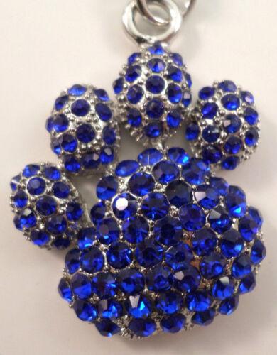 Rhinestone Bling Royal Blue Paw Print Paw Bear Paw Key Chain Purse Charm