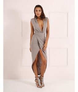 Mink Unique Forever Thigh Plunge Drape 12 Bodycon Dress New £139 Split Blake EqUIIC