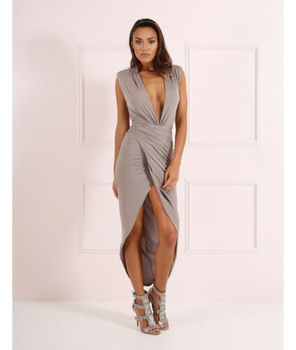 Forever £139 New Drape Plunge Split Thigh Unique Bodycon 12 Dress Blake Mink Z765qx6w