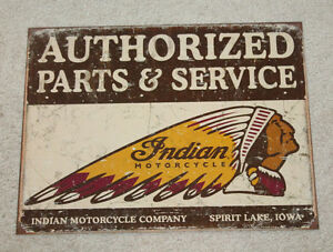 "Indian Motorcycle 12""x16 Vintage Style Metal Parts & Service Signs Garage Harley"
