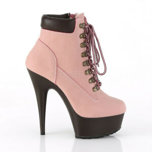 a2250f5a295b Image is loading Baby-Pink-Construction-Worker-Work-Boots-High-Heels-