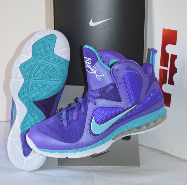 online retailer abe68 cc9f5 New DS Nike Air Lebron 9 IX Summit Lake Hornets Purple Turquoise Blue 11.5