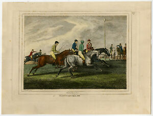 Antique Print-RACE HORSE-THOROUGHBRED-RACING-COLOURED-Howitt-1834