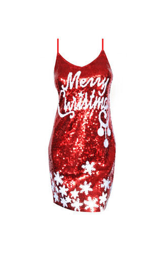 Sparkly Red MERRY CHRISTMAS Snow Funny Ugly XMas Sequin Holiday Party Dress