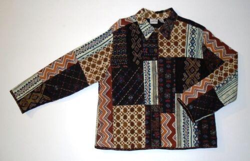Chico's Quilt xl Designer Størrelse 3 Broder 16 Browns Jakke Patchwrk f1xwvCqSx