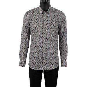 DOLCE /& GABBANA GOLD Slim Fit RUNWAY Hedgehog Printed Cotton Shirt Brown 06090