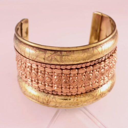 "Giant Indian Brass Red Copper Auspicious Pattern Amulet Cuff Bracelet - 2"" width"