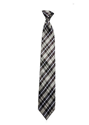 L Men/'s brown and gray checked clip-on woven tie size
