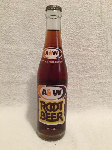 RARE FULL 10oz A/&W ROOT BEER 3 COLOR ACL SODA BOTTLE