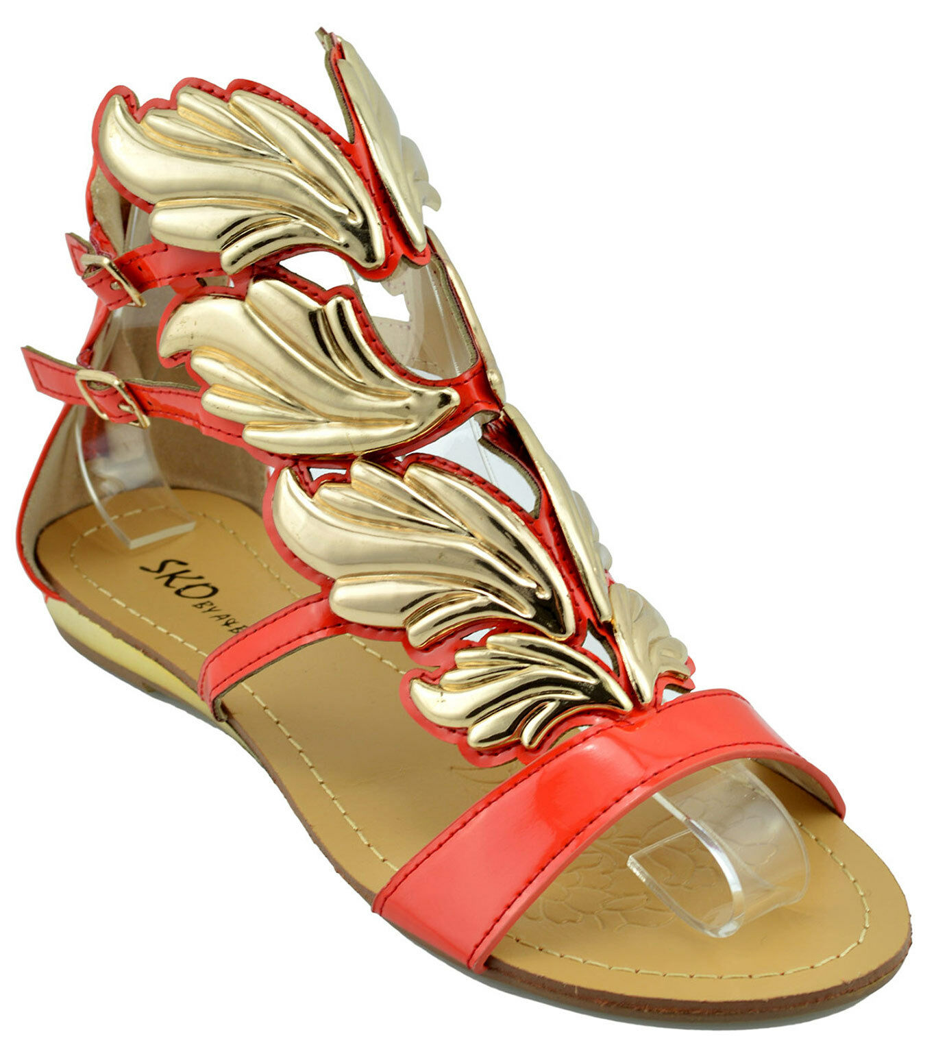 120 Red gold HERMES WINGS Fashion Women shoes Sandals Flats NEW COLLECTION
