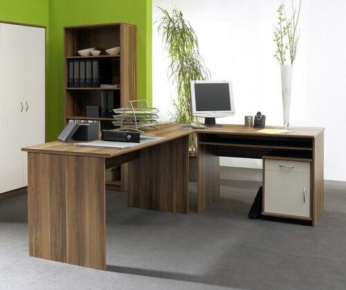 Schreibtisch Winkelschreibtisch OFFICE COMPACT mit Rollcontainer in Walnuss Nb.