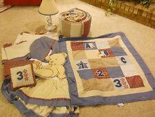 BABY CRIB BEDDING NURSERY SET BOY MARTEX BLUE BURGANDY PLAID TEDDY BEAR ABC 123