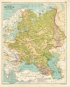 1891 Victorian Map European Russia Poland Finland St Petersburg