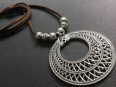 BLACK Suede CHOKER Necklace With Large Ethnic Pendant Boho