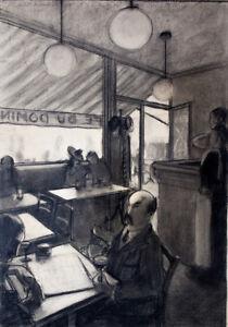 Partie de cartes au Café du Domino années 40-50 artiste à identifier 50x35 cm