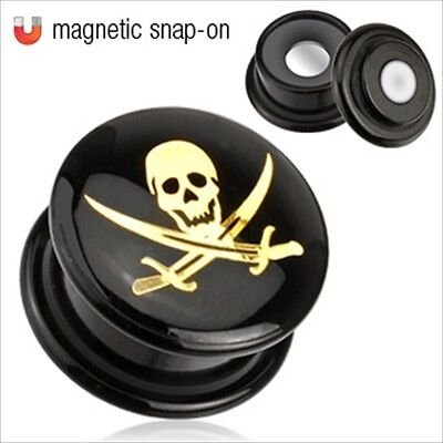 1 PAIR Magnetic Skull Snap On Double Flare Saddle Ear Plugs Gauges Cross Swords