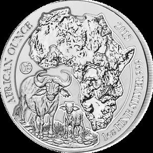 Rwanda-2015-50-Francs-Cape-Buffalo-Bullion-Fabulous-15-1oz-BU-Silver-Coin