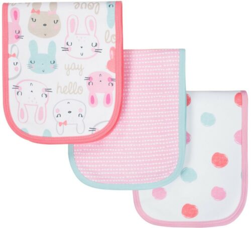 Bunny Pink GERBER BABY GIRLS 3-Pack Organic Cotton Terry Lined Burp Cloths