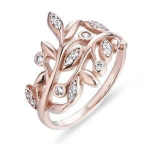 Rose Gold Over 925 Sterling Silver Leaves Cz Statement Ring Band