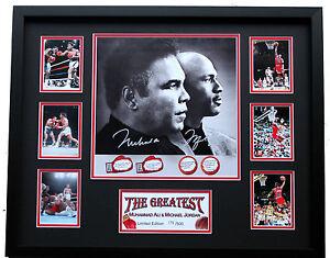 New Michael Jordan Muhammad Ali Signed Limited Edition Memorabilia Framed