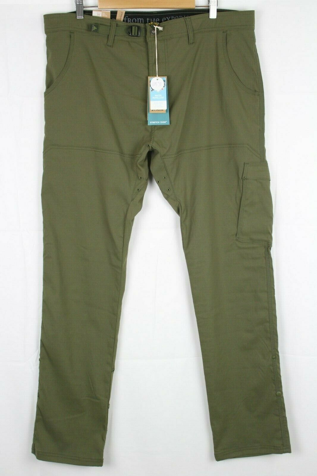 New Prana Men's Stretch Zion Straight Leg Pants 38 x 34 Cargo Green M43183427