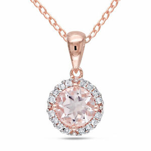 Amour Silver Morganite and Diamond Halo Necklace (I-J, I2-I3)