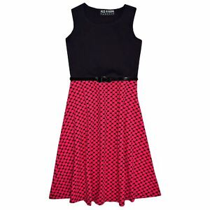 Girls-Skater-Dress-Kids-Black-amp-Pink-Summer-Party-Dresses-New-Age-7-13-Years