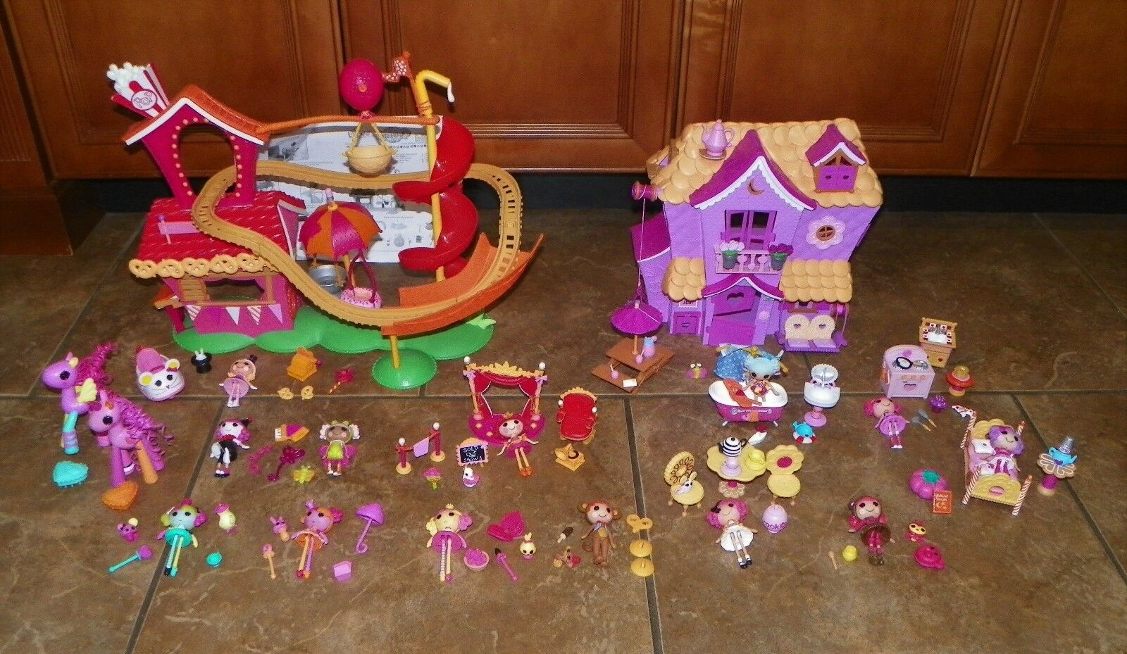 Huge Lot LALALOOPSY Mini PlaySets Silly Fun SEW SWEET Playhouse ROLLER COASTER +