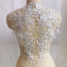 1 Pair Lace Applique Trim Embroidery Sewing Motif  DIY Wedding Bridal Crafts UK