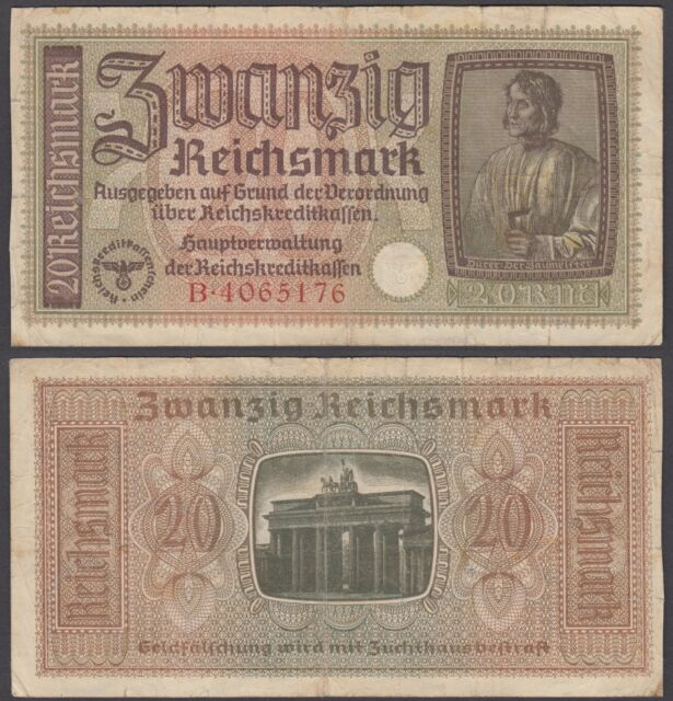 Germany 20 Reichsmark ND 1940-45 (F) Condition Banknote P-R139
