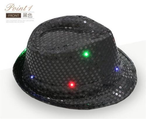 Xmas LED Light Flashing Mens Ladies Sequin Trilby Fedora Hat Jazz Hat Cap PFR