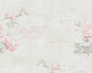 shabby chic pink rose vintage writing floral wallpaper ebay. Black Bedroom Furniture Sets. Home Design Ideas