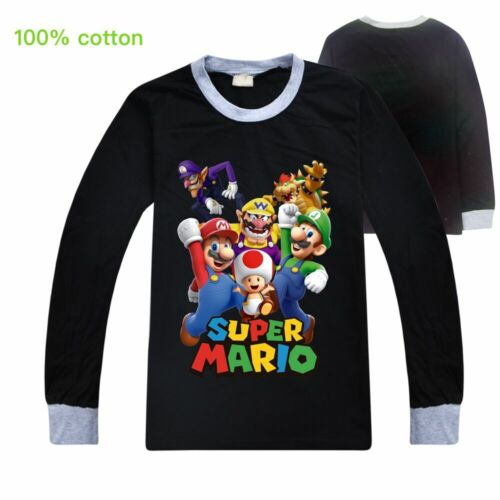 Super mario Mushroom Wario Boy Girl Long sleeves T-shirt Top Casual Shirt Gift