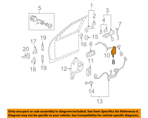 STS DRIVER FRONT DOOR LATCH LOCK WITH ACTUATOR 2005-2011 NEW OEM  19210214